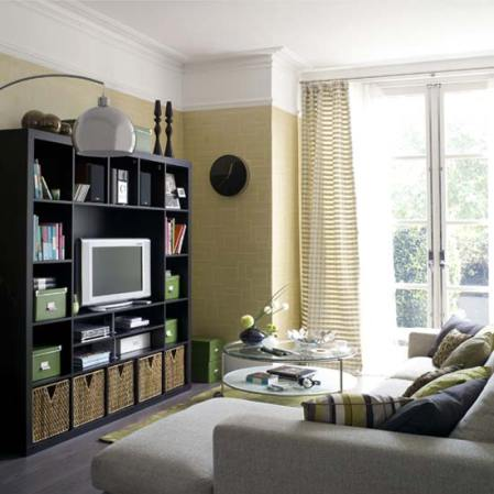 Living room with storage unit