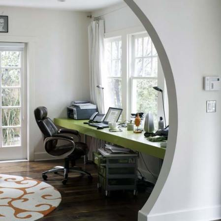 Curved entrance to a home office