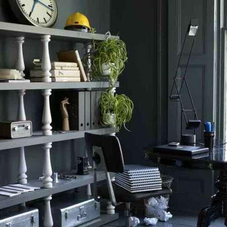 Study with stylish shelves
