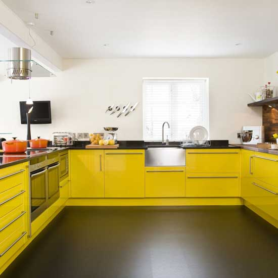 Yellow Gloss Kitchen Pictures