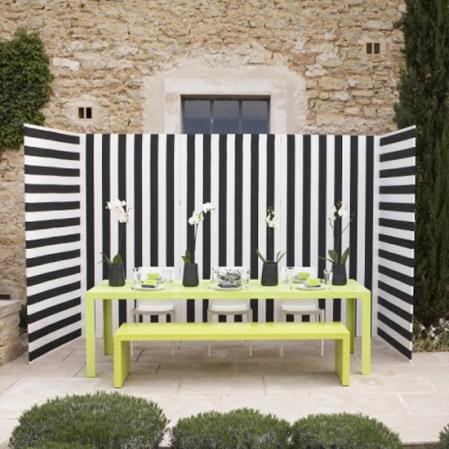 Striped patio