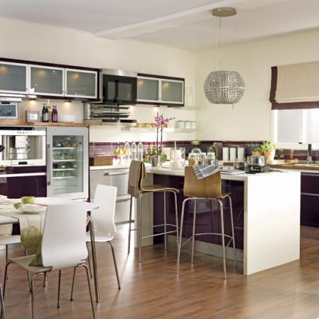 aubergine kitchen-diner