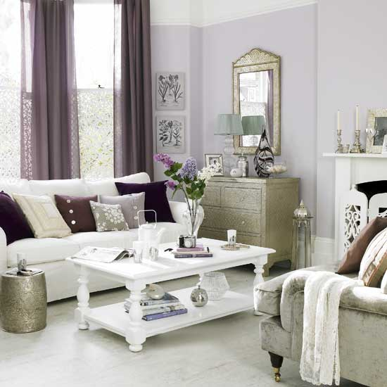 Gray And Purple Living Rooms