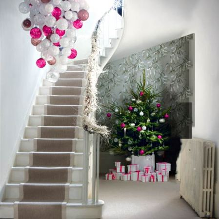 roomenvy - accents of pink Christmas hallway
