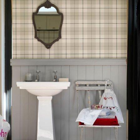 roomenvy - dove grey wallpaper bathroom