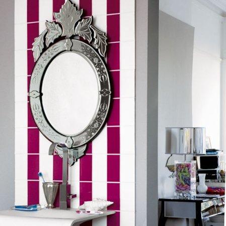 roomenvy - raspberry stripes bathroom