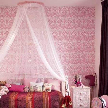 roomenvy - pink girl's bedroom wallpaper