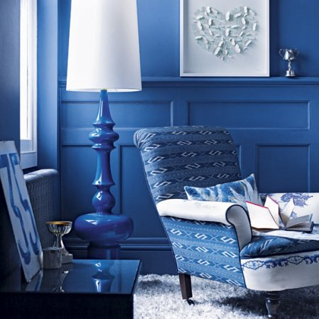 roomenvy - rich blue living room reading area