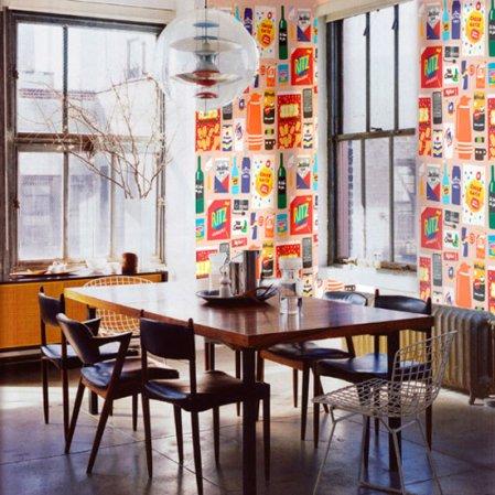 roomenvy - funky wallpaper dining room