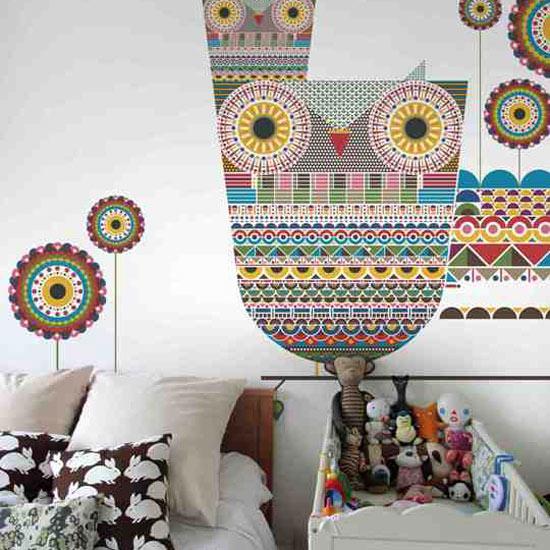 wallpaper for kids rooms. roomenvy - children's room owl wallpaper