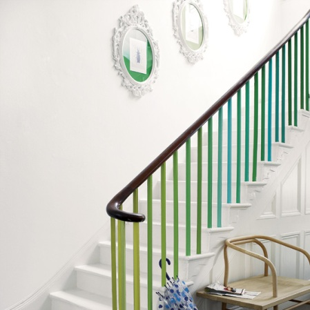 roomenvy - colourfully painted hallway staircase