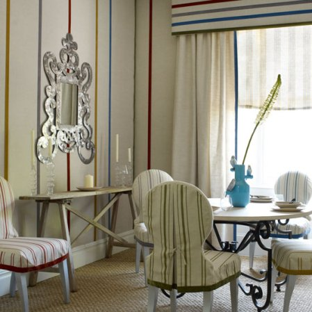 stripes dining room | dining room decorating ideas | Homes & Gardens