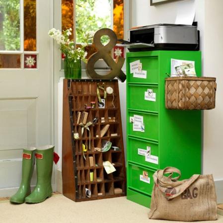 Green hallway | Hallway office | Hallway decorating ideas | Room Envy