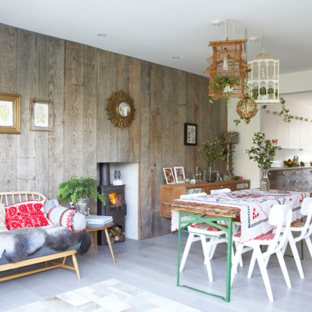Oliver Heath house | Decorating ideas with reclaimed timber | Open-plan room with timber walls | Room Envy