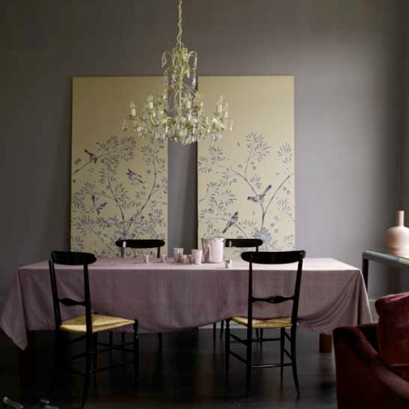 Moody oriental-inspired dining room
