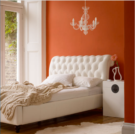 Orange and white bedroom | texture | leather bed | new season | roomenvy