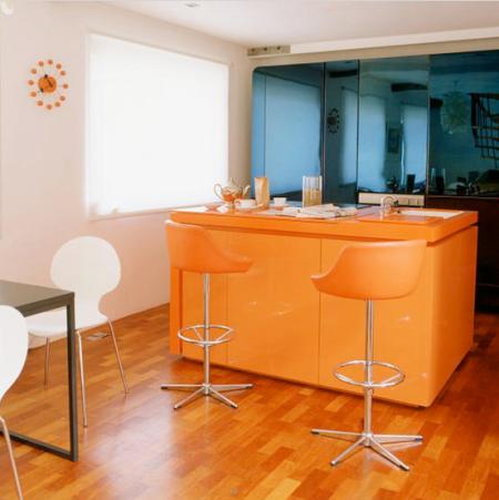 orange and teal kitchen | kitche-diner | kitchen inspiration | roomenvy