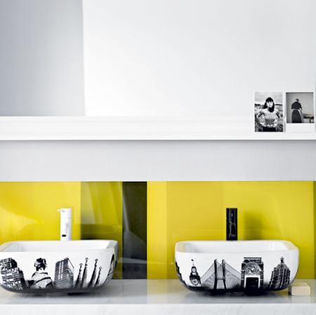 coloured glass splashback bathroom | bathroom design ideas | bathroom decorating ideas | budget bathroom ideas