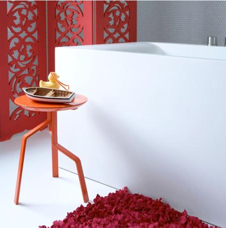 Red minimalist bathroom | bathroom decorating ideas | bright bathroom ideas | bathroom colour schemes | roomenvy