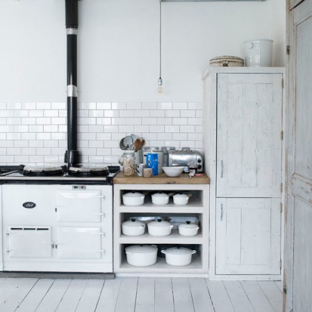 White Cafe Kitchen with AGA Cooker