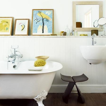 eclectic white bathroom