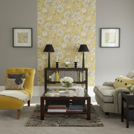 Yellow and Grey Living Room with Wallpaper