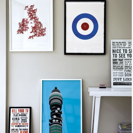 Living room with British posters