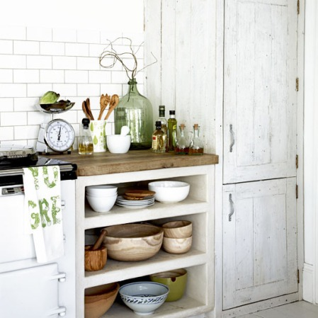 Rustic White Kitchen with Open Shelving
