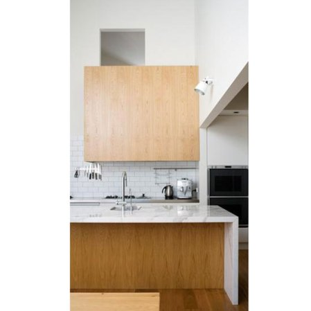 wood and white marble modern kitchen
