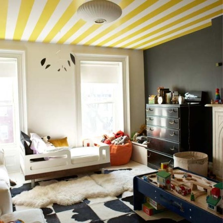 childrens bedroom striped ceiling